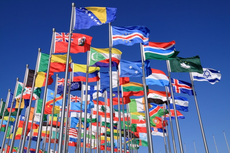The national flags all over the world