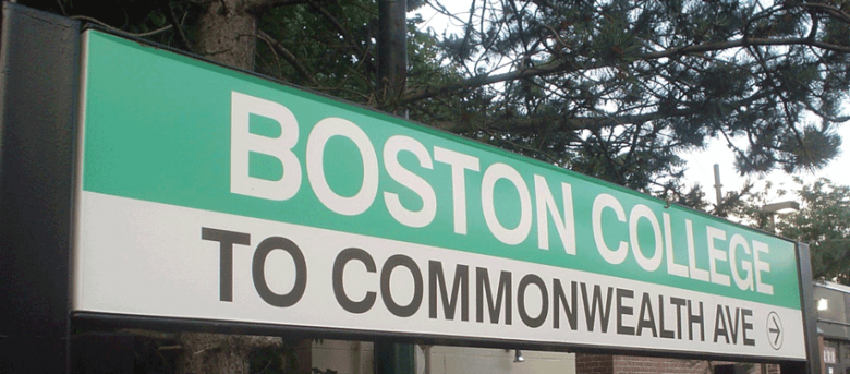 Boston College T sign