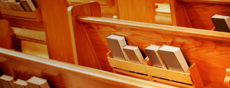 The back of church pews